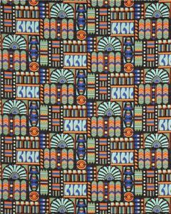 Downton Abbey Egyptian Chambers Teal Cotton Fabric by Andover Geo Floral