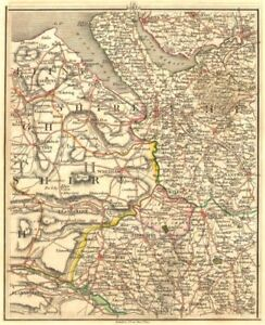 Details about MERSEYSIDE NE WALES CHESHIRE N SHROPS.Liverpool Warrington  Chester.CARY 1794 map