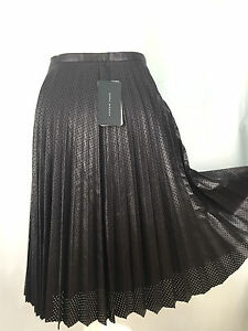 f1782f6863 Image is loading ZARA-BROWN-FAUX-LEATHER-PLEATED-MIDI-SKIRT-SIZE-
