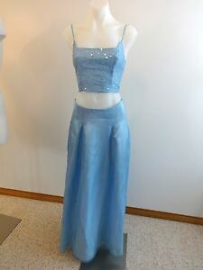 WATER SIGNS WOMENS BABY BLUE 2 PC FORMAL CHIFFON EVENING