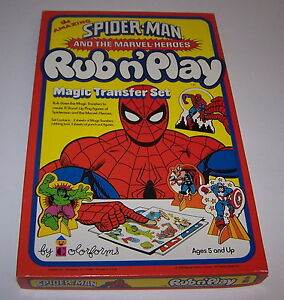 Spider-Man-Marvel-Heroes-Magic-Transfer-Rub-N-Play-Set-Color-forms-Unused-1978