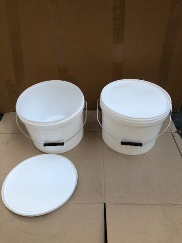 2 x 10 litre buckets and lids metal handle food grade home garden bait storage