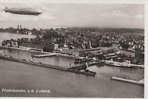 HAFENBAHNHOF-FRIEDRICHSHAFEN-GEL-1935-LUFTBILD-MIT-ZEPPELIN-AK1485