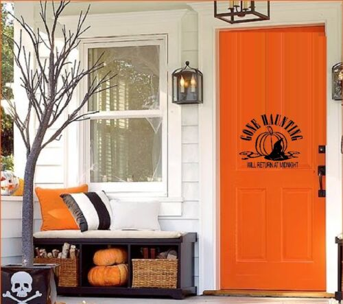 Door or Window Decal Gone Haunting will return at Midnight ~ Halloween Wall