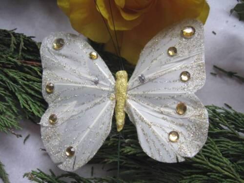 Ivory//cream Pluma De Mariposa Con Gemas 10,5 cm de envergadura