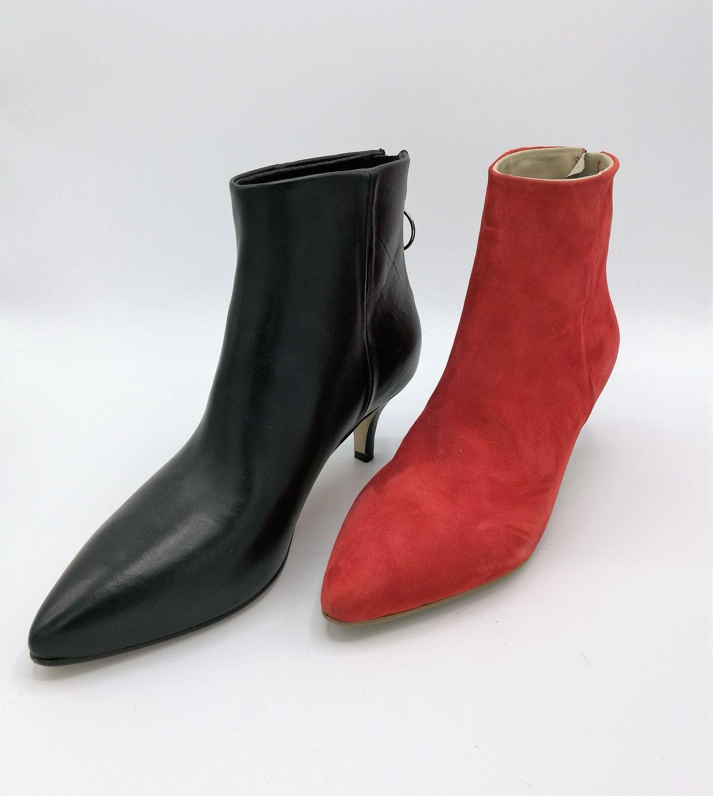 Debutto Donna 6001 stivaletto pelle nero / camoscio rosso tacco 5 cm