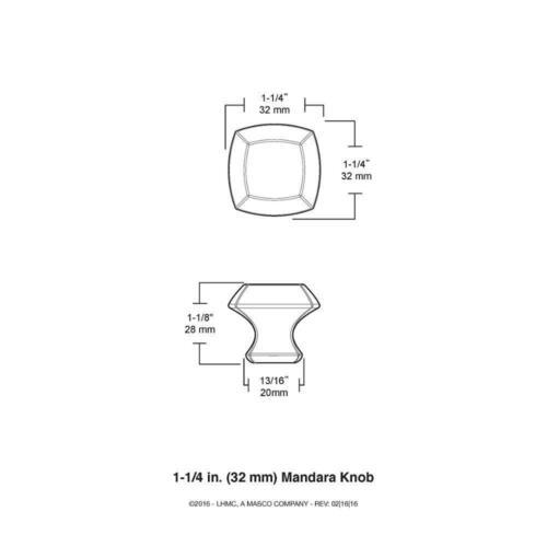 Liberty Mandara 1-1//4 In. 32mm Champagne Bronze Square Cabinet Knob