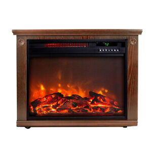 Lifesmart Large Room Portable Quartz Infrared Indoor Fireplace Space Heater, Oak