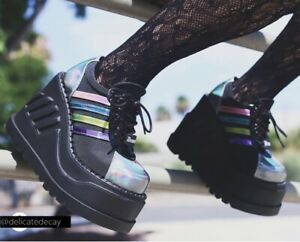 1c95509536f Black Rainbow Platform Sneaker Shoes Boots 90s Rave Stomp-08 Demonia ...