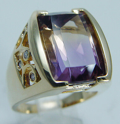 Signed LR Laura Ramsey 14K Yellow Gold Ametrine Diamond Huge Cocktail Ring