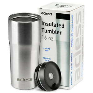 16-OZ-Travel-Tumbler-Stainless-steel-Silver-Insulated-Cup-Double-wall-coffee-Mug