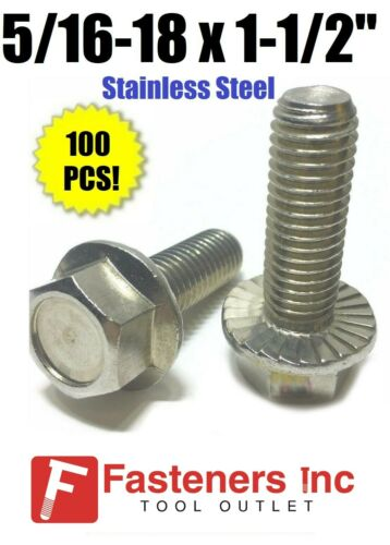 "5//16/""-18 x 1-1//2/"" Stainless Steel Hex Cap Serrated Flange Bolt FT UNC Qty 100"