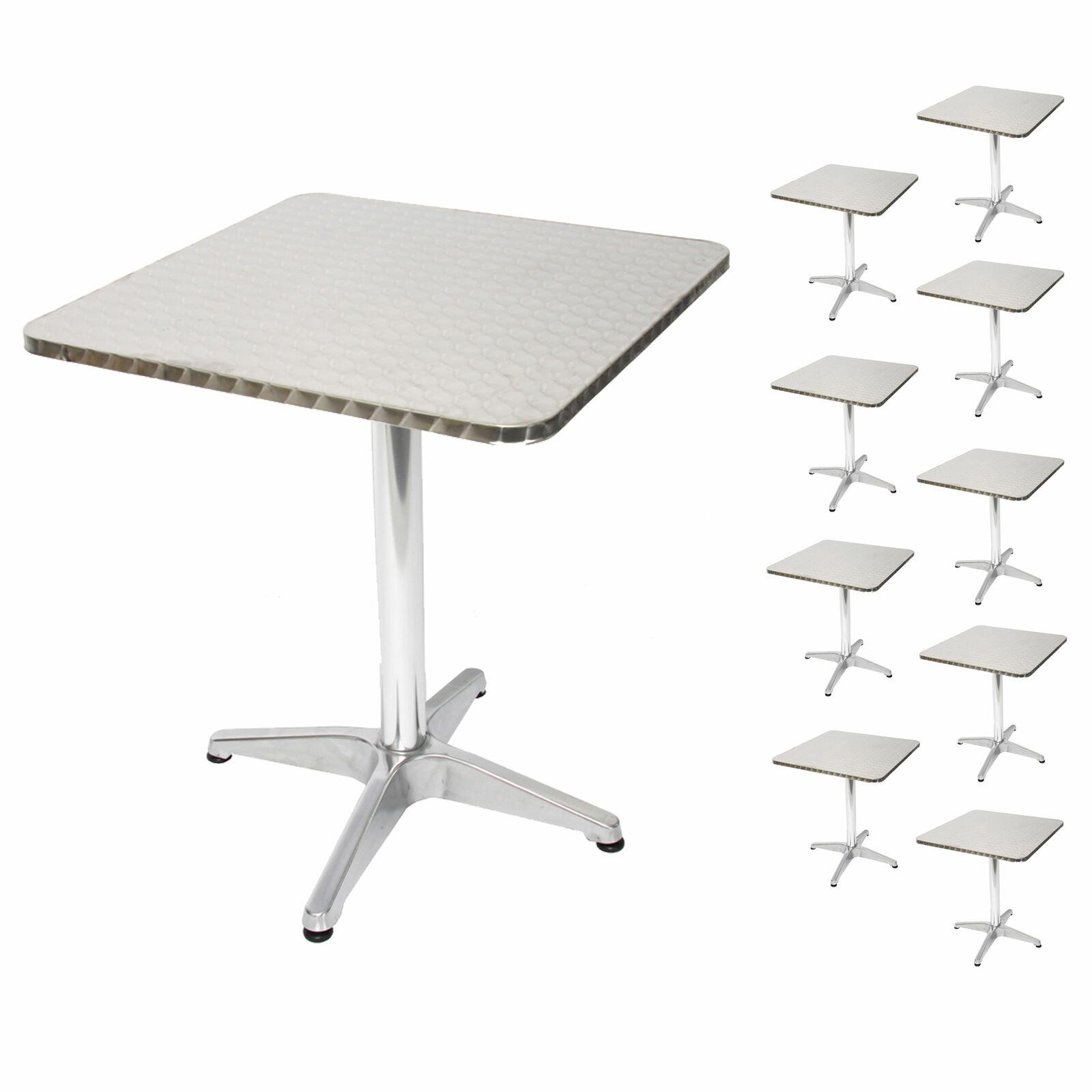 10x in alluminio-tavolo bistrot h28, Set Tavolo da giardino tavolo, rettangolare 60 cm