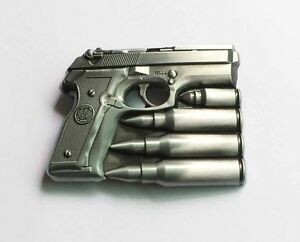 Hand gun with bullets belt buckle military army navy marines