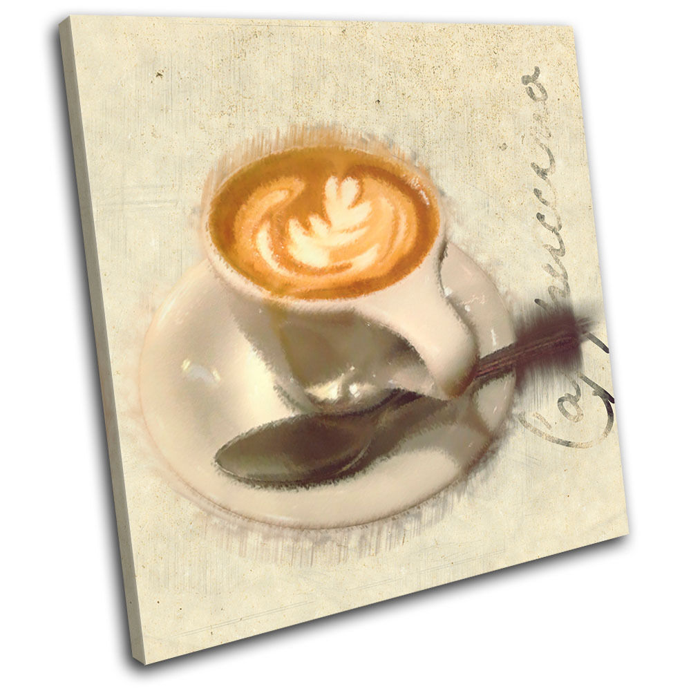Cafe Coffee Cappuccino  Food Kitchen SINGLE TELA parete arte foto stampa