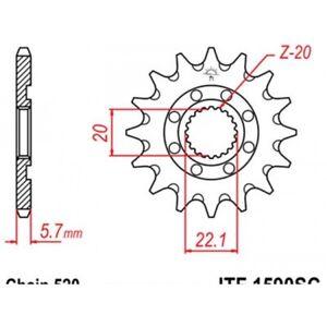 Pignon-anti-boue-acier-13-dents-jt-chaine-520-yamah-Jt-sprockets-JTF1590-13SC