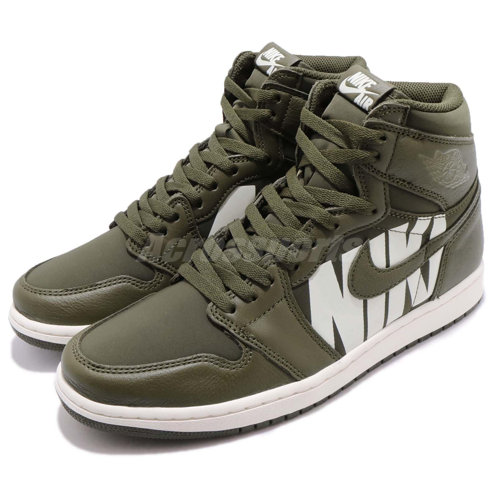 Nike Air Jordan 1 Logos Retro High OG Big Logos 1 Olive Canvas Sail AJ1 Hombre 555088300 011907