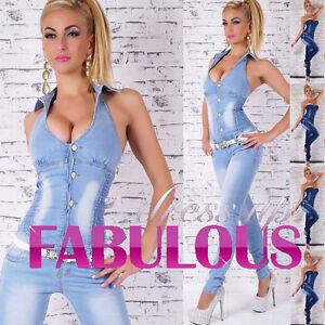 Hot Womens Jeans Overall Size 10 12 14 8 S M L XL Denim Jumpsuit ...