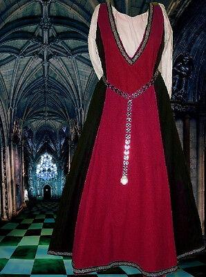 SCA Garb Medieval Renaissance Costume Gown DkRed Blk LINEN Flemish Surcote LXL