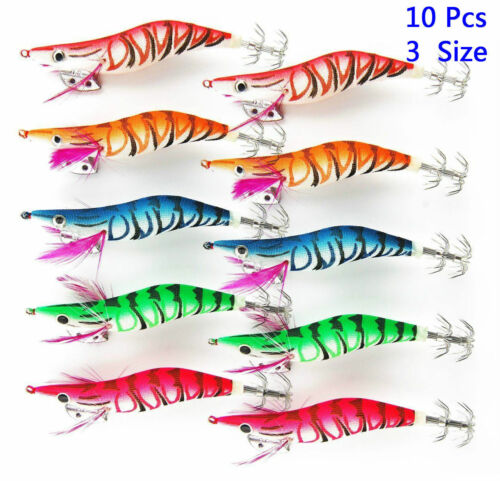 5//10pcs 10-15cm Squid Jigs Hard Fishing Lure Saltwater Mixed Color Bass Jig Hook