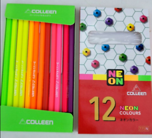 1 set COLLEEN NEON 12 Color Pencils Set Kid Art Craft Drawing Sketch Non Toxic