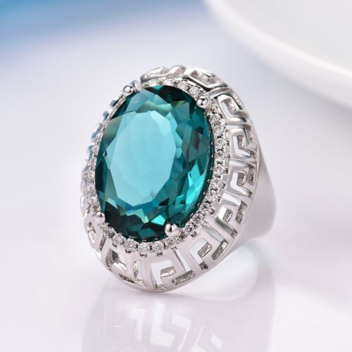 Fashion Vintage Style Women Blue Sapphire Crystal Silver Cocktail Ring Band
