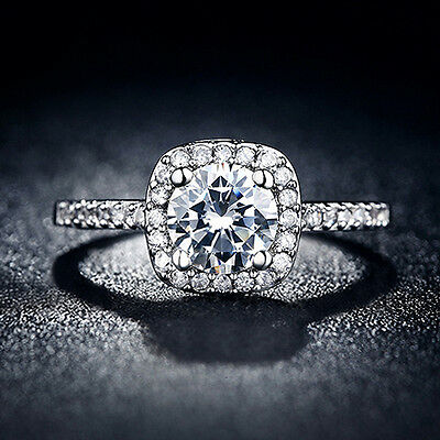 WOMEN'S FASHION 9K WHITE GOLD PLATED CRYSTAL ENGAGEMENT WEDDING JEWELRY RING