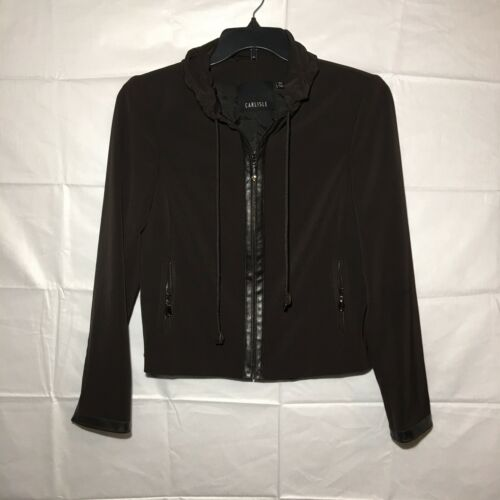 Drawstring Zip Trim Jacket 8 Blazer Carlisle Størrelse Brun Krave Læder qUZAxqgY