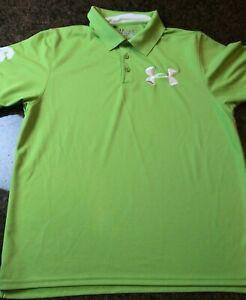 Optimismo Aliado Machu Picchu  Mens Green Under Armour Heat Gear Loose 96 Golf Athletic Polo Shirt Large  Logo | eBay