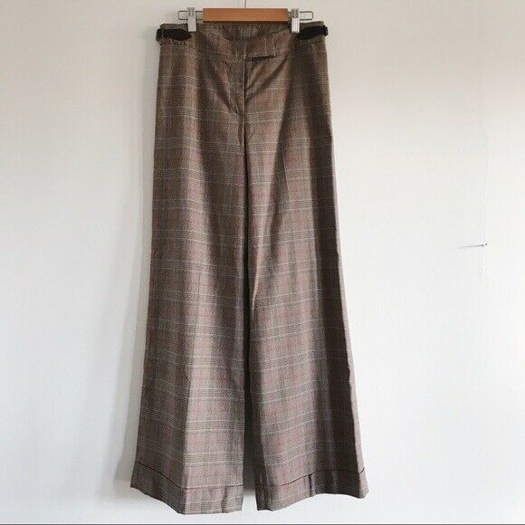 Lilly Pulitzer Brown Plaid Wide Leg Cuff Pants Size 2 MSRP  128