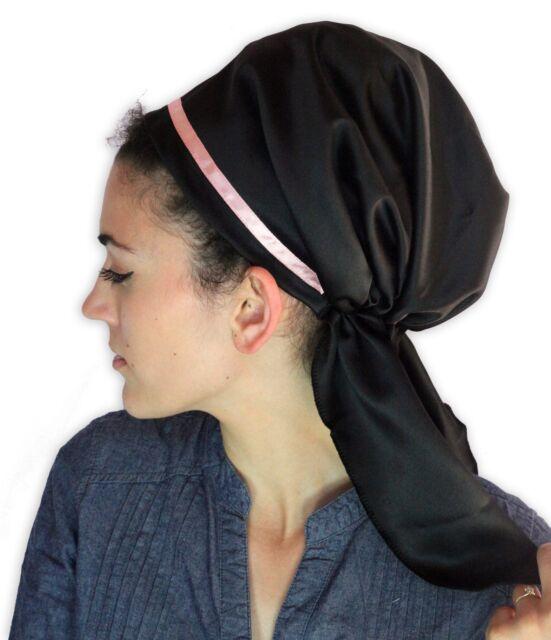 Tichel Scarves Head Wrap Hair Covering Jewish Bandana Headcovering Woman Black
