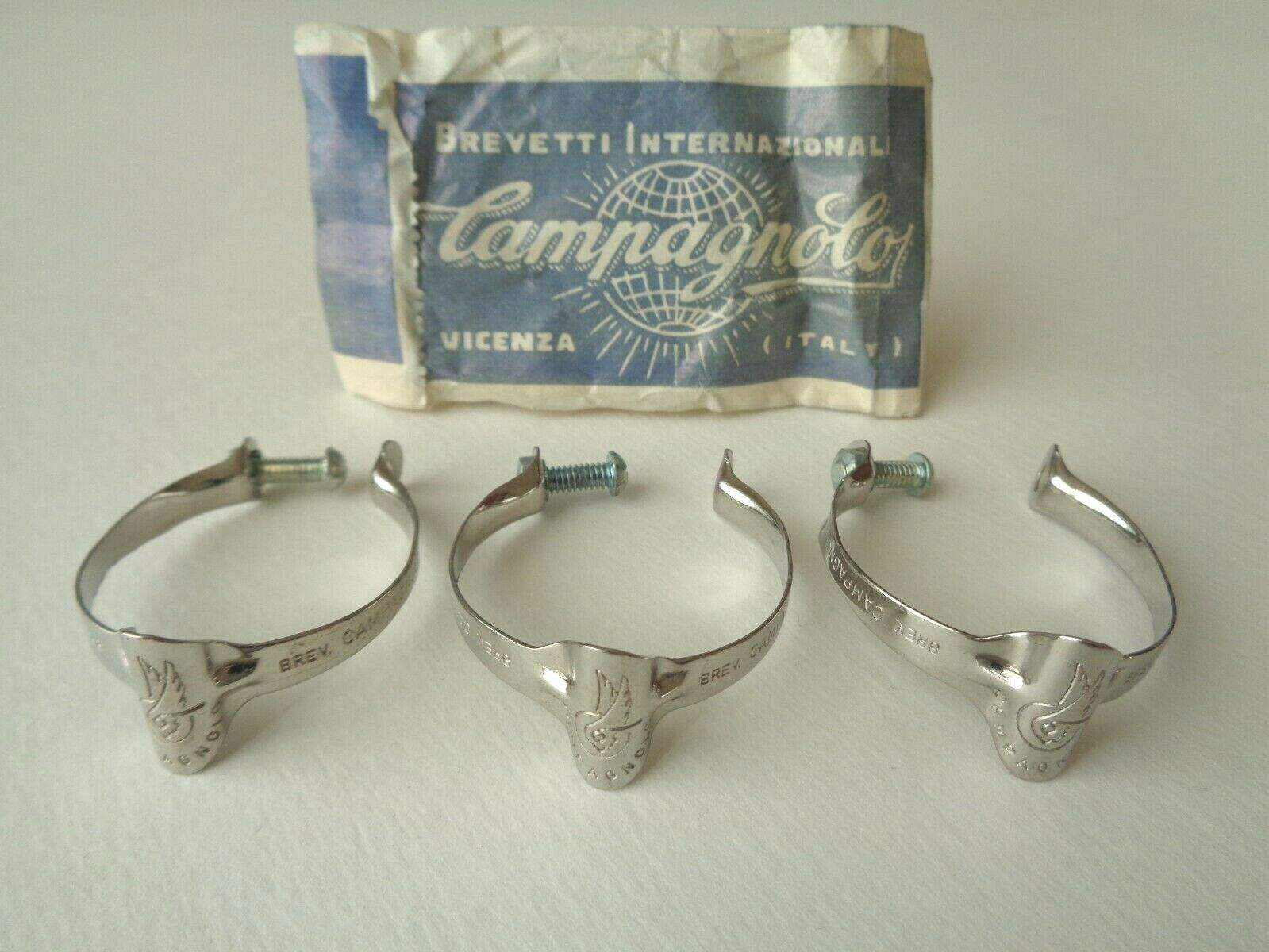 NOS Vintage 60s 70s Campagnolo inox chrome top tube brake cable clips (set of 3)