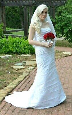Alfred Angelo Ruched Strapless White Wedding Dress Size 4 Ebay