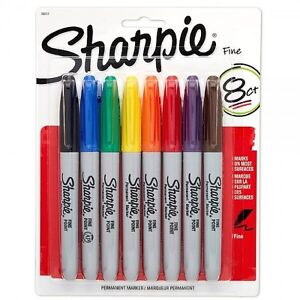 Sharpie Fine Point Permanent Markers 8 Pack Assorted Colors FREE P&P 7435631974940