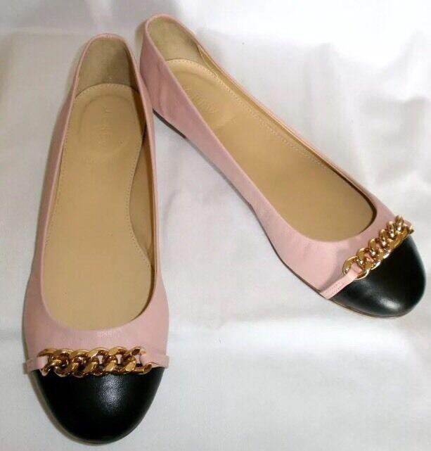 Nueva con caja Jcrew Jcrew Jcrew Nora rosado Cuero Negro Puntera cadena Ballet Zapatos sin Taco Sin 9 Italia  Web oficial
