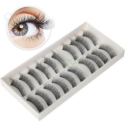 10 Pairs 0.51'' Cross Long Soft Black Fiber False Eyelashes Eye Lash Makeup #869