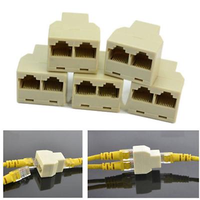 1:2 Socket LAN Ethernet Network RJ45 Plug Splitter Extender Adapter Connector OT