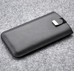 Black-leather-case-for-iPhone-pouch-cover-lined-purse-sleeve-with-magnetic-flap