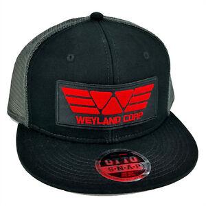e7373a871 Details about ALIEN Movie PROMETHEUS Weyland Corp Red Patch Flat Bill Black  Grey Mesh Cap Hat