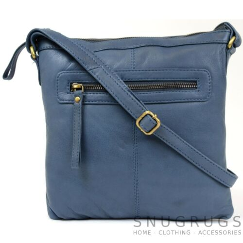 Ladies Butter Soft Premium Leather Cross Body Bag with Adjustable Shoulder Strap