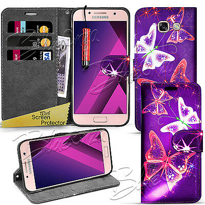 For Samsung Galaxy A3 2016-Wallet Leather Case Flip Cover + Screen Protector