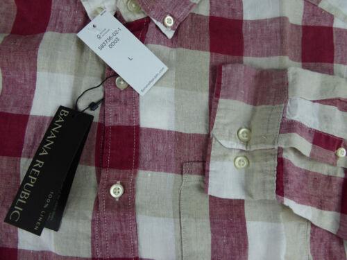 Banana Republic Camden Standard Fit Plaid 100/% lin Ls Chemise 79.50 $ Neuf Avec étiquettes Rouge Tan
