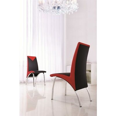 SET OF 4 DESIGNER LEATHER CHROME DINING CHAIRS (CHOICE OF FOUR COLOURS) IJ614