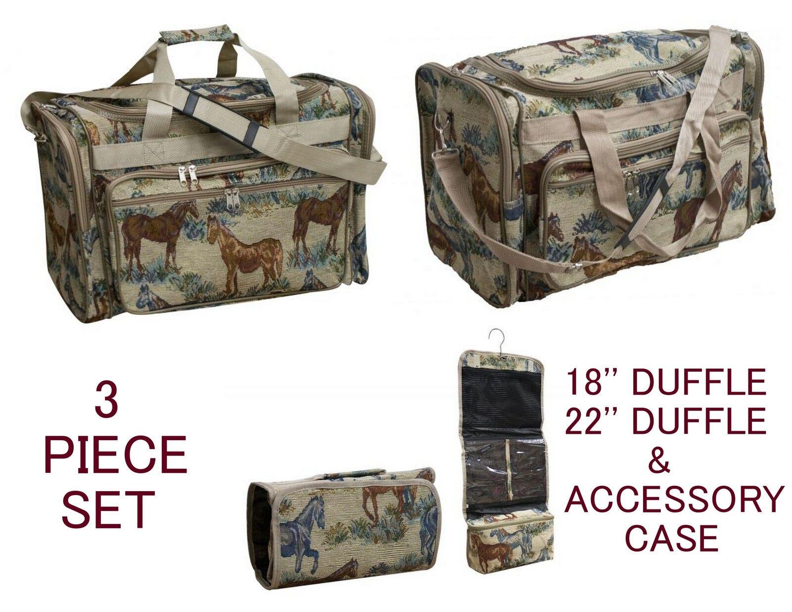 Conjunto De 3 Piezas amantes del caballo equipaje 2 Tamaños Duffel bolsas colgando libremente de artículos de tocador Funda