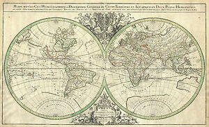 Poster vintage style double hemisphere world map picture print image is loading poster vintage style double hemisphere world map picture gumiabroncs Image collections