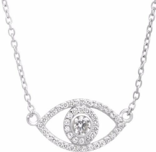 Brand New Sterling Silver /& White Cubic Zirconia Evil Eye Pendant Necklace
