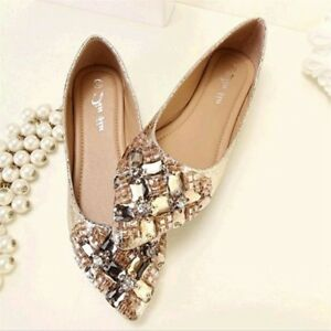 Plus-Sz-Womens-Rhinestones-Pointed-Toe-Flats-Shoes-Pumps-Loafers-Slip-On-Casual