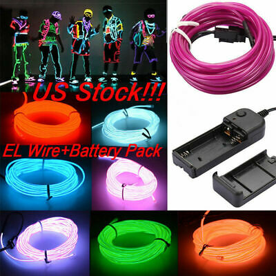 1//2//3//4//5M Flexible LED Neon Light Glow EL Strip Tube Wire Rope Battery Party