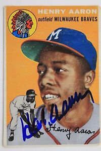 HANK-AARON-Autographed-Signed-1954-TOPPS-128-Rookie-Card-JSA-Letter-16L