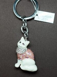 Cat-Key-Chain-Made-With-Clear-amp-Pink-Swarovski-Crystals